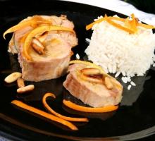 Filet mignon de porc aux oranges et pignons de pin