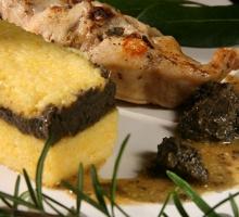 Rables de lapin et polenta à la tapenade